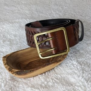 LOFT Bonded Leather Brown Woven Belt